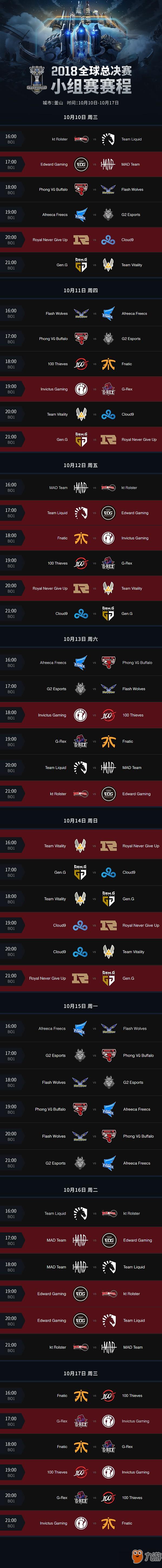 2018LOL全球总决赛小组赛赛程公布 10月10日开赛