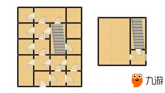 上图是左侧为一楼,二楼为简易自己的空间。防抄家重点是按思路来,我们肯定要将建筑建的繁琐一些,且物资分散,例如多放一些柜子,自己记得哪个柜子是放着最贵重的物品,其他随意放一些即可。设计这么多门,再加上室内地雷等室内防御措施就可以将抄家的人拒之门外。 但是最好是与上图有些许差别,让敌人绕,利用心理学与操作习惯来设计,例如说大部分人是右撇子玩家,习惯向右转,我们可以将门朝向一左一右的来设计,多多设计地雷,基本上稳得。