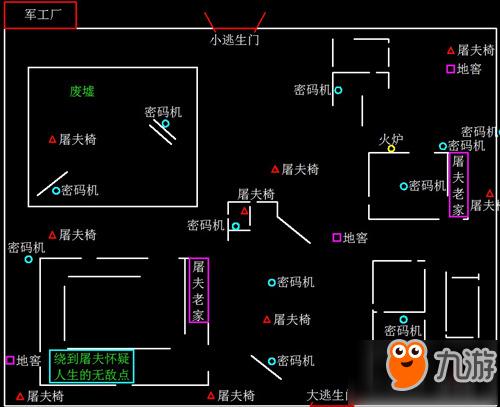 第五人格军工厂地图分布详解 密码机在哪里