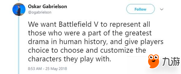 《战地5》回应请愿:尊重玩家感受 但会保留女性角色