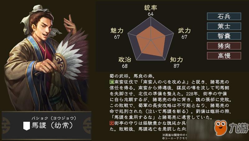 三国志14武将马谡介绍